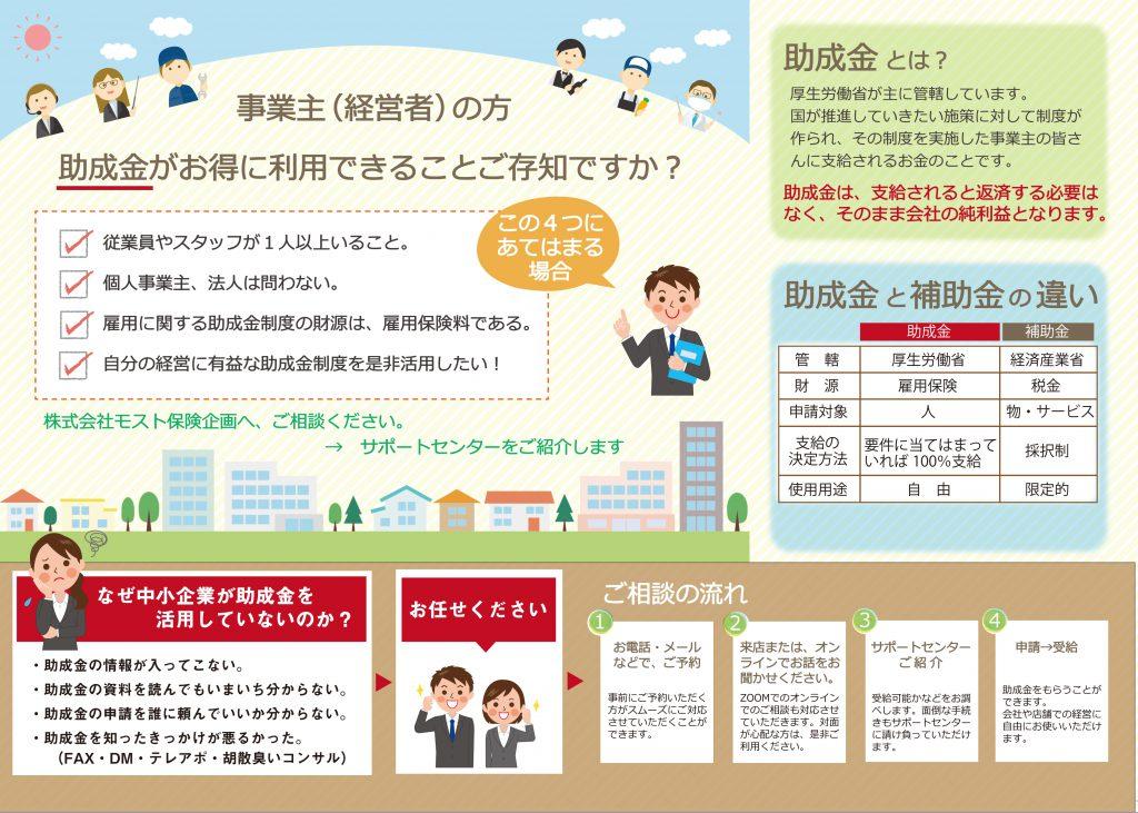 大阪府、助成金をもらいたい時は、泉佐野市の㈱モスト保険企画へご相談ください。